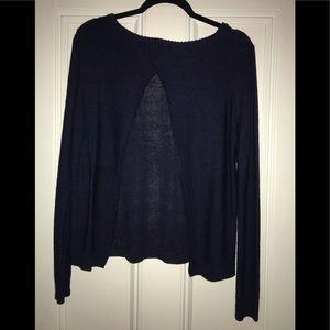 Tobi Navy Blue Open Back Sweater